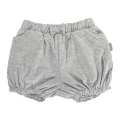 Kojenecké bavlněné kalhotky, kraťásky s mašlí Mamatti Bubble Boo - šedé