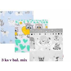 Baby Nellys  Povlak na polštářek, sada 3ks, 40x40cm, mix vzorů - klučičí