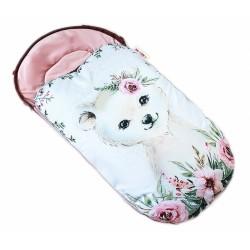 Dětský fusák Baby Nellys WINTER LUXURY velvet, 105 x 55 cm - medvídek / pudrově růžová