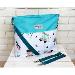 Stylová taška na kočárek Baby Nellys Hand Made - hračky, tyrkysová, Ce19