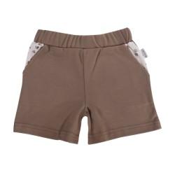 Kojenecké bavlněné kalhotky, kraťásky Mamatti Tlapka - hnědé