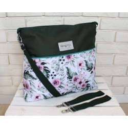 Stylová taška na kočárek Baby Nellys Hand Made - Květinky/flowers - zelená, Ce19