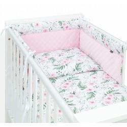 Mamo Tato 3-dílný set do postýlky s mantinelem Velvet  - Růžová zahrada