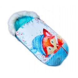 Fusak Baby Nellys Winter Friends Lux velvet s kožešinkou, 105x55 cm - liška/tyrkys
