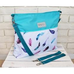 Stylová taška na kočárek Baby Nellys Hand Made - Listy - tyrkysová, Ce19