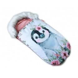 Fusak Baby Nellys Winter Friends Lux velvet s kožešinkou, 105x55 cm - tučňák /pudrově růžo