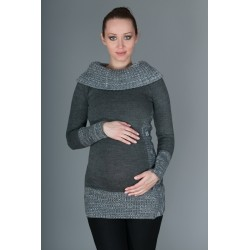 Těhotenský svetřík/tunika Carmen - šedá s melirkem