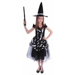 Karnevalový kostým čarodějnice/halloween netopýrka, vel. S