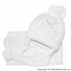 Zimní čepička s šálou - Sněhová vločka v bílé