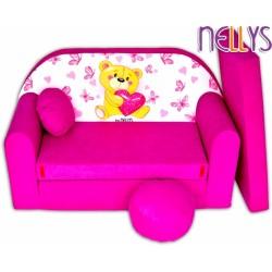 Rozkládací dětská pohovka NELLYS Míša růžový