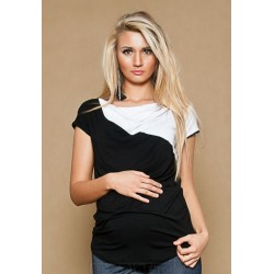 Těhotenské triko/halenka ELISSA - černá/bílá