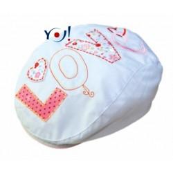 Bavlněná bekovka/kšiltovka YO! - LOVE - bílá