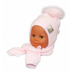BABY NELLYS Zimní čepička s šálou - chlupáčková bambulka - sv. růžová/sv. růžová