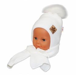 BABY NELLYS Zimní čepička s šálou - chlupáčková bambulka - bílá/bílá