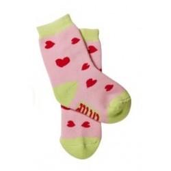 Bavlněné froté ponožky Baby Ono 6-12m - Růžové se srdíčky
