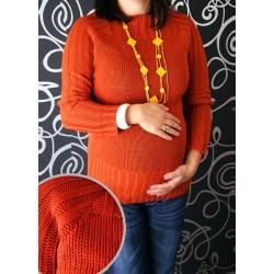 Těhotenský svetřík SELIN cihlová / červená