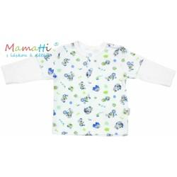 Polo tričko dlouhý rukáv Mamatti - DOG - bílé/potisk pejsek