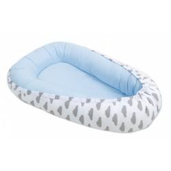 Oboustranné hnízdečko - kokon pro miminko -Bledě modré / mráčky šedé