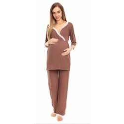 Be MaaMaa Těhotenské, kojící pyžamo s krajkovým lemováním - cappucino