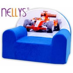 Dětské křesílko/pohovečka Nellys ® - Formule v modrém