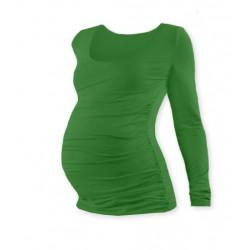 Těhotenské triko JOHANKA s dlouhým rukávem - tmavě zelená