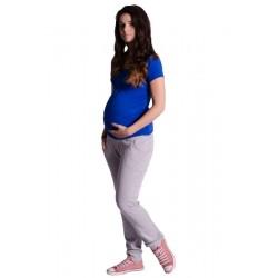 Těhotenské trubkové tepláky - šedý melírek