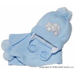 Zimní čepička s šálou - Autíčko sv. modré