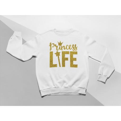 KIDSBEE Moderní dětská dívčí mikina Princess Life - bílá