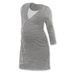 Těhotenská, kojící noční košile JOHANKA dl. rukáv - šedý melír