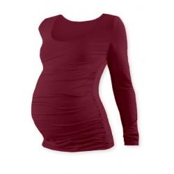 Těhotenské triko JOHANKA s dlouhým rukávem - bordo