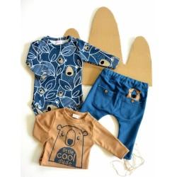 K-Baby Sada 2 x body dl. rukáv + 1 x tepláčky, Koala, hnědá/granát/jeans