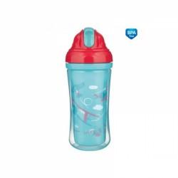 Canpol babies Sportovní láhev se slámkou Fly Boy - tyrkysová, 260 ml