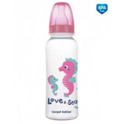 Canpol babies Lahvička s potiskem 250 ml Love&amp,Sea - růžová