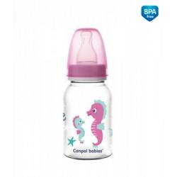 Canpol babies Lahvička s potiskem 120 ml Love&amp,Sea - růžová