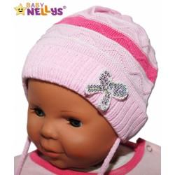 Čepička Proužek Baby Nellys ® na zavazování - růžová