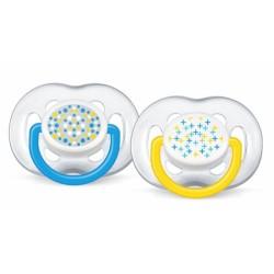 Dudlíky Avent sensitivní - KLUK 6-18m puníky, hvězdíčky