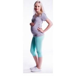 Těhotenské barevné legíny 3/4 délky - tyrkysová