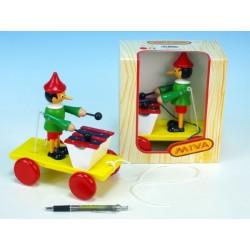 Pinocchio s xylofonem tahací dřevo 20cm v krabičce 12m+