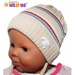 Čepička Proužek Baby Nellys ® na zavazování - béžová
