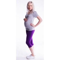 Těhotenské barevné legíny 3/4 délky - tmavě fialová