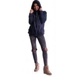 Těhotenská a nosící mikina  - granát jeans