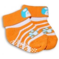 Bavlněné protiskluzové froté ponožky 0-6m - Oranž pruhy, Panda