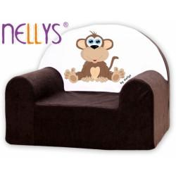 Dětské křesílko/pohovečka Nellys ® - Opička Nellys hnědá