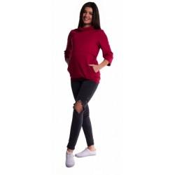 Těhotenské a kojící teplákové triko - bordo