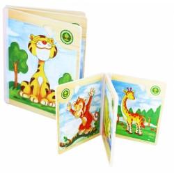Kniha puzzle dřevěné africké zvířátka