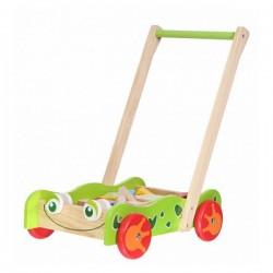 Dřevěný vozík s dřevěnými kostkami ECO TOYS - Žabka
