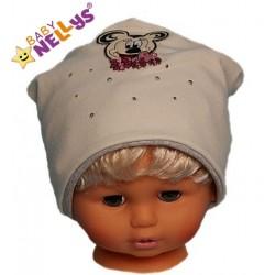 Bavlněná čepička Myška s kamínky Baby Nellys ®- smetanová