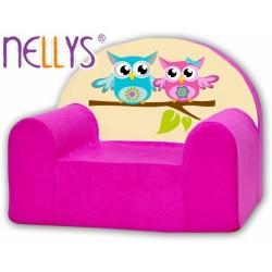 Dětské křesílko/pohovečka Nellys ® - Sovičky Nellys růžové