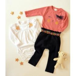 K-Baby Sada 2 x body dl. rukáv + 1 x tepláčky, Květinky, bílá/losos/granát