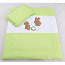 Set do kočárku s výšivkou lux 2D - Medvídci na houpačce - zelená